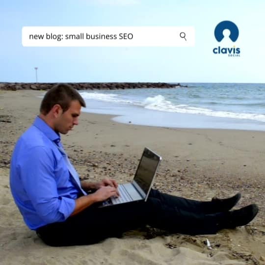 Small Business SEO graphic - businessman on beach struggling with his laptop computer