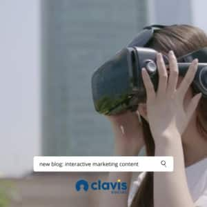 blurred background of a city with a brown haired woman using a VR headset in the foreground
